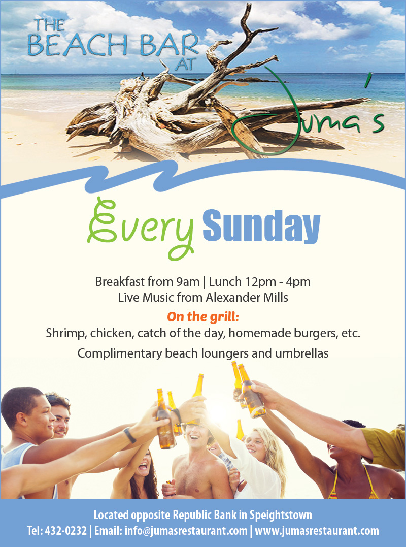 The Beach Bar at Juma's. Every Sunday.